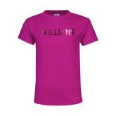 Youth Cyber Pink T Shirt-Primary Mark - Athletics  Foil