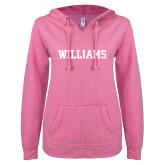 ENZA Ladies Hot Pink V Notch Raw Edge Fleece Hoodie-Primary Mark - Athletics
