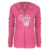 ENZA Ladies Hot Pink Light Weight Fleece Full Zip Hoodie-Ephs w/ W White Soft Glitter