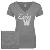 ENZA Ladies Graphite Melange V Neck Tee-Ephs w/ W White Soft Glitter