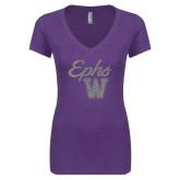 Next Level Ladies Vintage Purple Tri Blend V Neck Tee-Ephs w/ W Silver Soft Glitter
