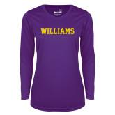 Ladies Syntrel Performance Purple Longsleeve Shirt-Primary Mark - Athletics