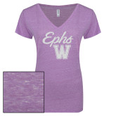 ENZA Ladies Violet Melange V Neck Tee-Ephs w/ W White Soft Glitter