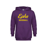 Youth Purple Fleece Hoodie-Ephs Baseball