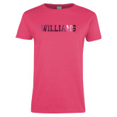 Ladies Fuchsia T Shirt-Primary Mark - Athletics  Foil
