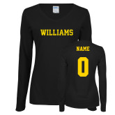 Ladies Black Long Sleeve V Neck Tee-Primary Mark - Athletics, Personalized Name and #