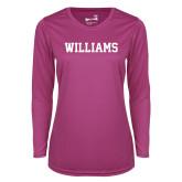 Ladies Syntrel Performance Raspberry Longsleeve Shirt-Primary Mark - Athletics