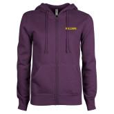 ENZA Ladies Purple Fleece Full Zip Hoodie-Primary Mark - Athletics