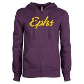 ENZA Ladies Purple Fleece Full Zip Hoodie-Ephs