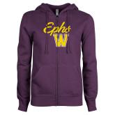 ENZA Ladies Purple Fleece Full Zip Hoodie-Ephs w/ W