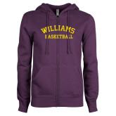 ENZA Ladies Purple Fleece Full Zip Hoodie-Basketball