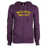 ENZA Ladies Purple Fleece Full Zip Hoodie-Swim and Dive