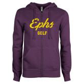 ENZA Ladies Purple Fleece Full Zip Hoodie-Ephs Golf