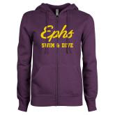 ENZA Ladies Purple Fleece Full Zip Hoodie-Ephs Swim and Dive