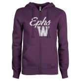 ENZA Ladies Purple Fleece Full Zip Hoodie-Ephs w/ W White Soft Glitter