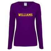 Ladies Purple Long Sleeve V Neck Tee-Primary Mark - Athletics