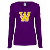 Ladies Purple Long Sleeve V Neck Tee-W