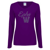 Ladies Purple Long Sleeve V Neck Tee-Ephs w/ W Purple Glitter