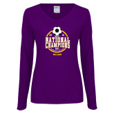 Ladies Purple Long Sleeve V Neck Tee-NCAA DIII National Champions