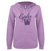 ENZA Ladies Hot Violet V Notch Raw Edge Fleece Hoodie-Ephs w/ W Purple Glitter
