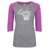 ENZA Ladies Athletic Heather/Violet Vintage Baseball Tee-Ephs w/ W White Soft Glitter