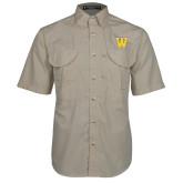 Khaki Short Sleeve Performance Fishing Shirt-W