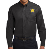 Black Twill Button Down Long Sleeve-W