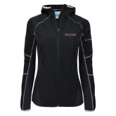 Columbia Ladies Sweet As Black Hooded Jacket-Primary Mark - Athletics
