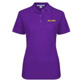 Ladies Easycare Purple Pique Polo-Primary Mark - Athletics