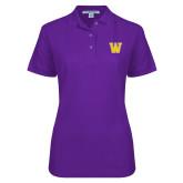 Ladies Easycare Purple Pique Polo-W