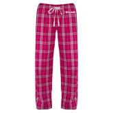 Ladies Dark Fuchsia/White Flannel Pajama Pant-Primary Mark - Athletics