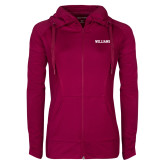Ladies Sport Wick Stretch Full Zip Deep Berry Jacket-Primary Mark - Athletics