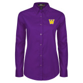 Ladies Purple Twill Button Down Long Sleeve-W