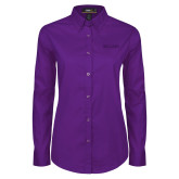Ladies Purple Twill Button Down Long Sleeve-Primary Mark - Athletics