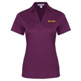 Ladies Purple Performance Fine Jacquard Polo-Primary Mark - Athletics