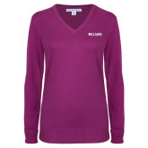 Ladies Deep Berry V Neck Sweater-Primary Mark - Athletics