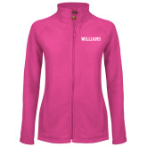Ladies Fleece Full Zip Raspberry Jacket-Primary Mark - Athletics
