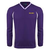 Colorblock V Neck Purple/White Raglan Windshirt-Primary Mark - Athletics