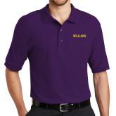 Purple Easycare Pique Polo-Primary Mark - Athletics