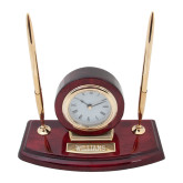 Executive Wood Clock and Pen Stand-Primary Mark - Athletics  Engraved
