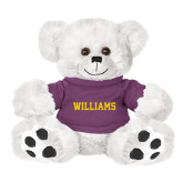 Plush Big Paw 8 1/2 inch White Bear w/Purple Shirt-Primary Mark - Athletics