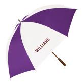 64 Inch Purple/White Umbrella-Primary Mark - Athletics