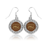 Crystal Studded Round Pendant Silver Dangle Earrings-W w/ Bronco