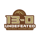 Small Decal-13-0 Undefeated Football Season 2016, 6 inches wide
