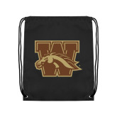Black Drawstring Backpack-W w/ Bronco
