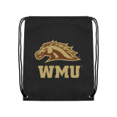 Black Drawstring Backpack-WMU w/ Bronco Head