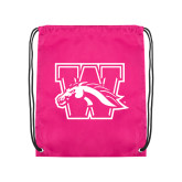 Pink Drawstring Backpack-W w/ Bronco