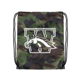 Camo Drawstring Backpack-W w/ Bronco