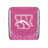 Nylon Pink Bubble Patterned Drawstring Backpack-W w/ Bronco