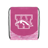 Nylon Zebra Pink/White Patterned Drawstring Backpack-W w/ Bronco